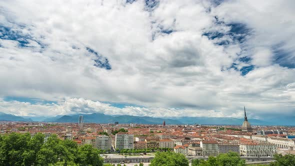 Thumbnail for Timelapse daytime Turin Italy, town wake up, colorful dramatic sky