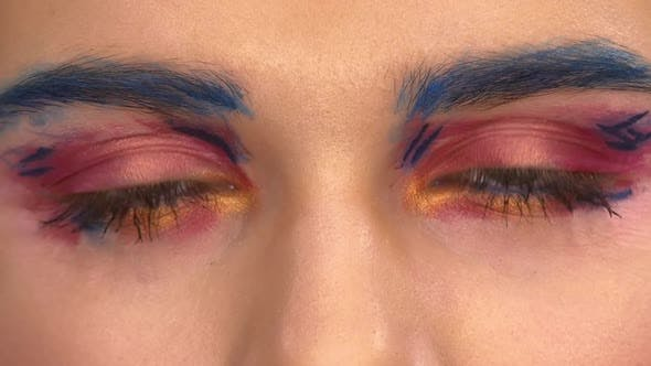 Thumbnail for Exotic, Gorgeous Young Model Beautiful Women with Unusual Perfect Art Make-up, Blue Eyebrow, Yellow