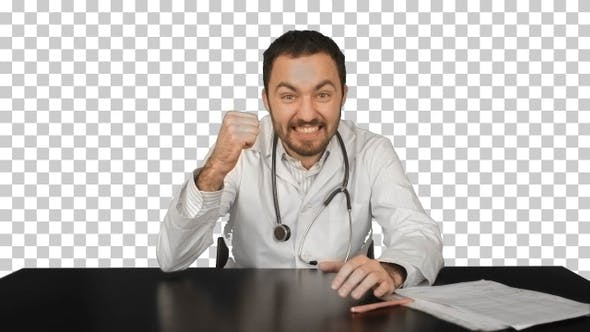 Thumbnail for Smiling male doctor at medical office, Alpha Channel