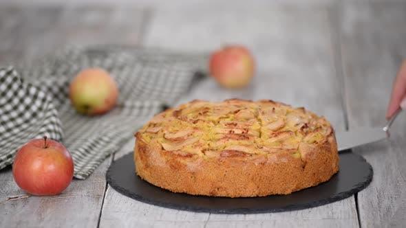 Thumbnail for Sweet Homemade Apple Cake with Cinnamon.