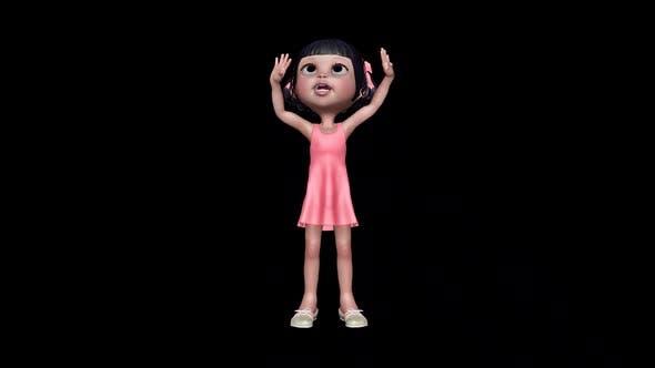 Little Girl Little Girl Gesture Loop On Alpha Channel
