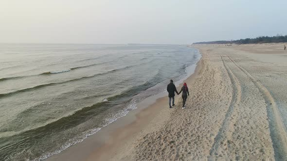 Thumbnail for Happy Couple Walking on the Beach
