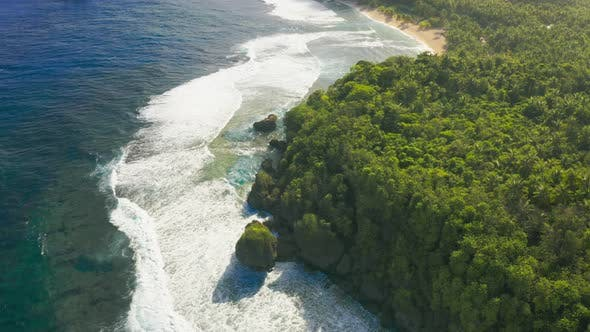 Cover Image for Aerial View Tropical Beach Island and Sea Bay Lagoon, Siargao. Tropical Landscape Hills