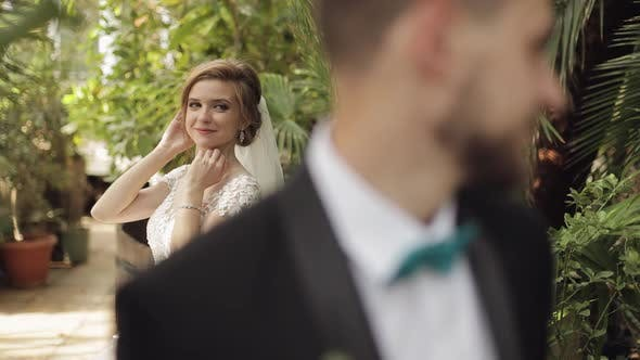 Thumbnail for Newlyweds. Caucasian Groom with Bride in the Park. Wedding Couple. Happy Family