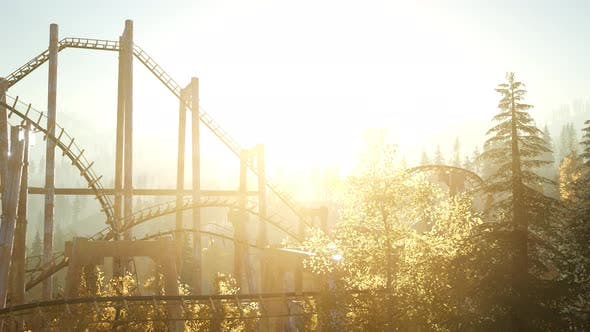 Thumbnail for Old Roller Coaster at Sunset in Forest