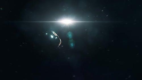 Glowing Alien Asteroid Approaching Planet Earth