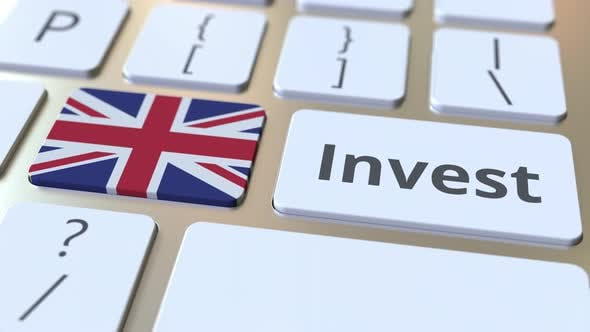 Thumbnail for INVEST Text and Flag of Great Britain on the Keyboard