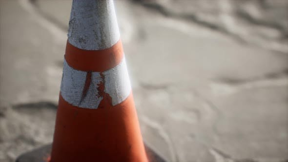 Thumbnail for Orange and White Striped Traffic Cone