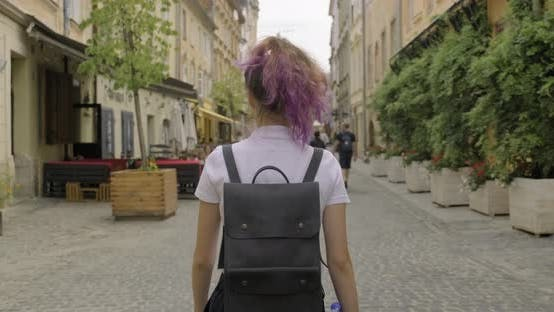Thumbnail for Beautiful Student Teenager Girl with Backpack Walking, Back View