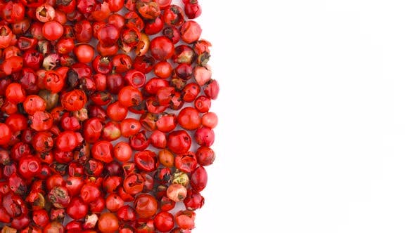 Thumbnail for Half Frame of Circle Shaped Pink Peppercorn Pile Rotating on the Turntable