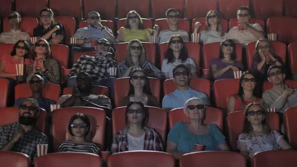 Diverse Viewers Watching 3d Movie in Cinema