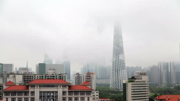 Guangzhou Tower By Guangdong Buildings in China Timelapse
