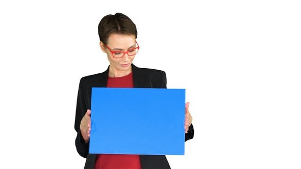 Thumbnail for Businesswoman holding an empty banner on white background.