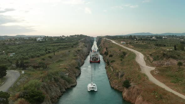 Thumbnail for Ship Passing Through Corinth Canal in Greece
