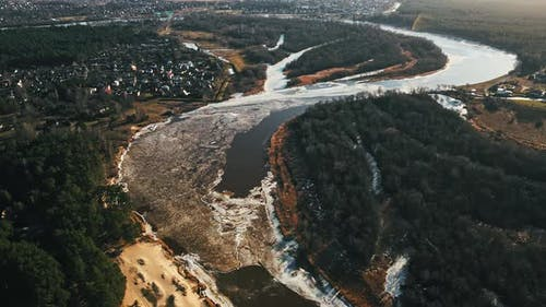River Gauja with Melting Snow and Ice in Spring Aerial
