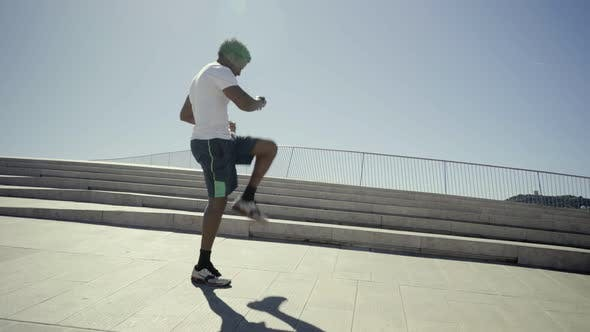 Thumbnail for Focused African American Sportsman Training During Sunny Day