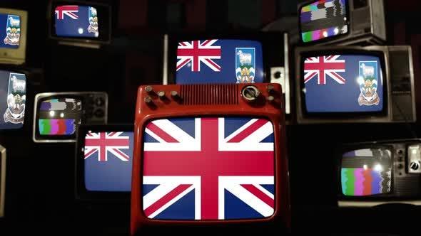 Flag of the Falkland Islands (Islas Malvinas) and UK Flag on Retro TVs.