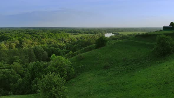 Cover Image for Aerial View of Green Summer Forest and Canyon at Sunset