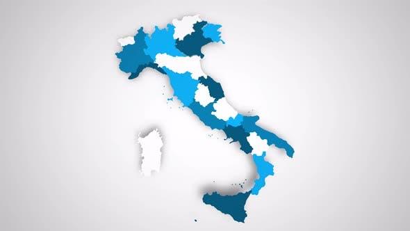 Graphiques animés Carte animée de l'Italie Formant - Blanc
