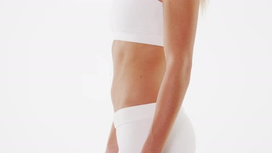 Closeup midsection of fit lean woman