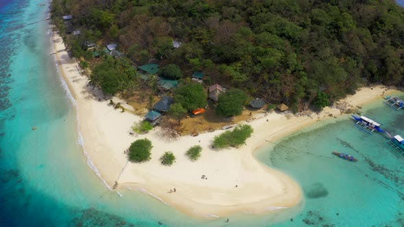 Thumbnail for Panorama of the Tropical Sandy Beach Malcapuya and Azure Sea in Coron, Busuanga Island, Palawan