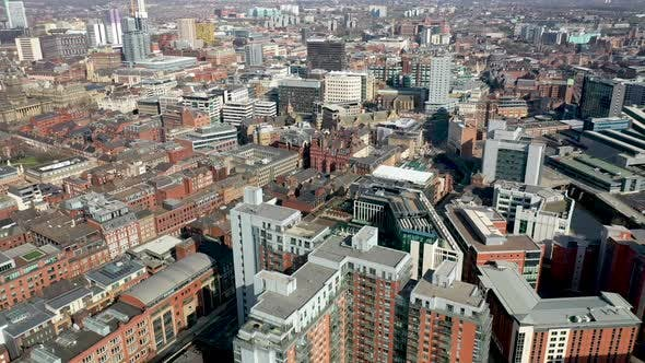 Aerial footage of the British town of Leeds in West Yorkshire UK