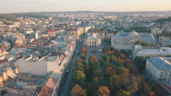 Thumbnail for Aerial City Lviv, Ukraine. European City. Popular Areas of the City. Lviv Opera