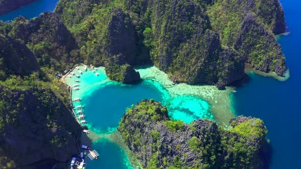 Cover Image for Coron, Palawan, Philippines, Aerial View of Beautiful Lagoons and Limestone Cliffs