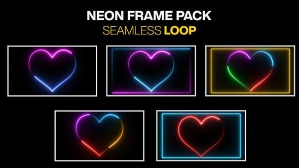 Neon Herzform Rahmen Leuchtende Licht Border Nahtlose Loop Pack