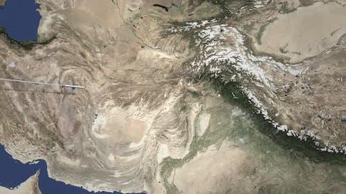 Verkehrsflugzeug fliegt von Westen nach Rawalpindi Pakistan