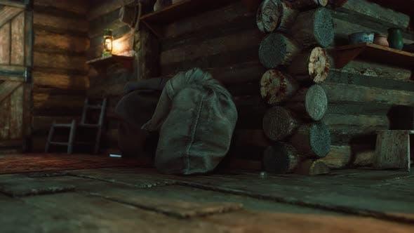Dark Interior of Retro Log House