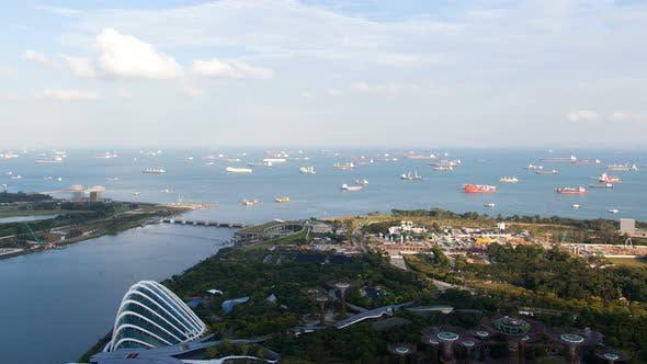 Thumbnail for Singapore Gardens By the Bay Aerial Cityscape Timelapse