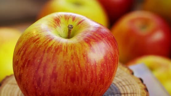 Thumbnail for A ripe red-yellow apple rotates around its axis