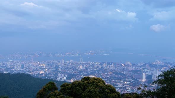 Thumbnail for Timelapse Of Penang In Malaysia At Sunset From Day To Night