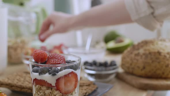 Thumbnail for Delicious Granola with Different Berries for Breakfast