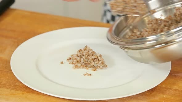 Thumbnail for Boiled Buckwheat on a White Plate
