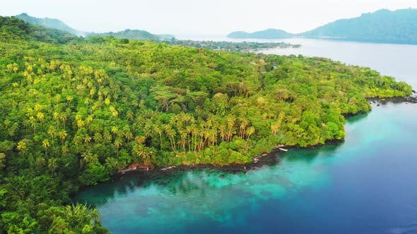 Thumbnail for Aerial: flying over tropical island Banda Islands Maluku Indonesia