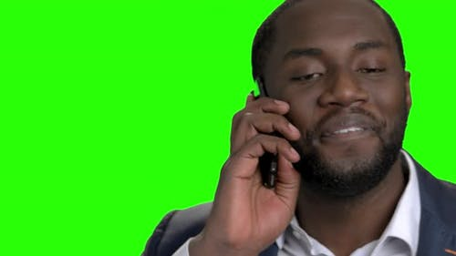 Close Up African American Guy Talking on Phone.