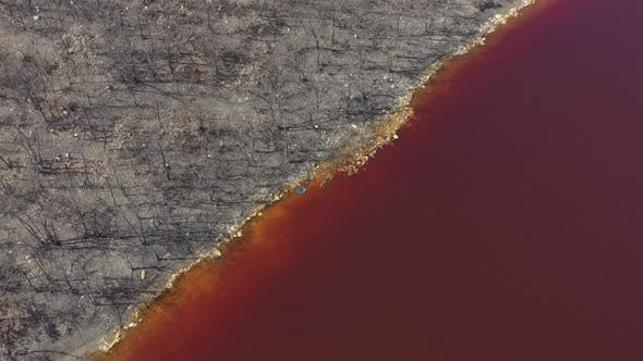 Acid mine drainage waters from above 5K aerial video