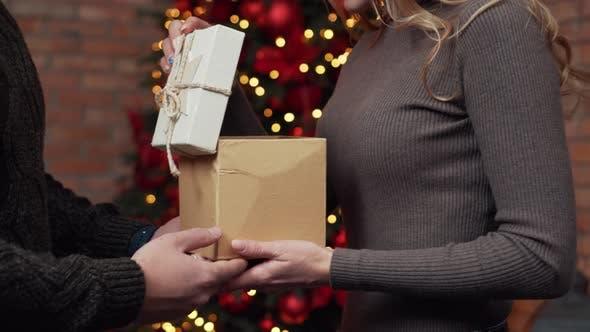 Thumbnail for Man Gives Woman Christmas Present, Close Up