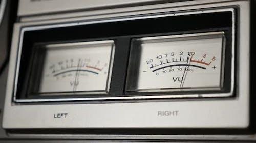 Vintage  audio device analog VU meter slow motion 1080p FullHD footage - Retro  standard volume leve