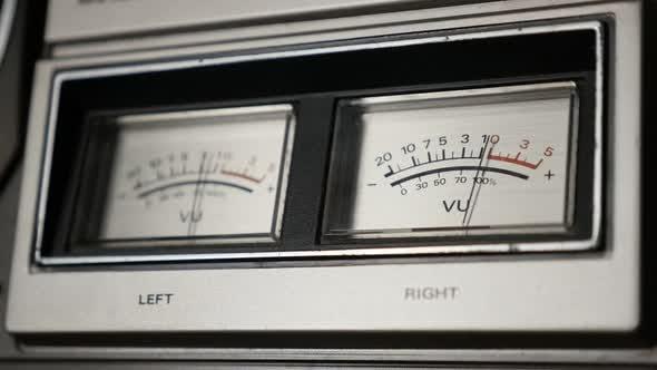 Thumbnail for Vintage  audio device analog VU meter slow motion 1080p FullHD footage - Retro  standard volume leve