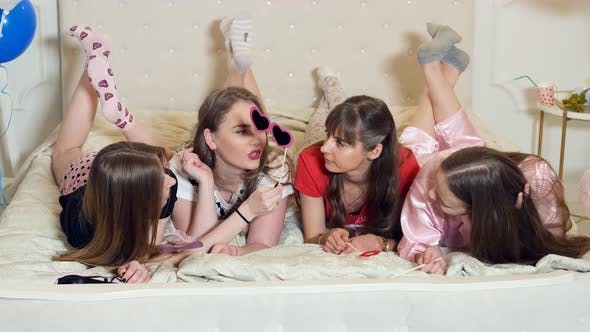 Thumbnail for Hen Party. Girls Bridesmaid Lying Celebrating Bachelorette Party And Having Fun