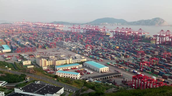 Yangshan Port with Shanghai Gantry Cranes in China Timelapse