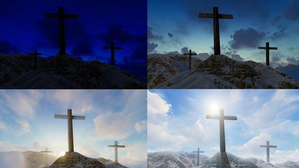 Thumbnail for Sunrise Behind Three Crosses 4K
