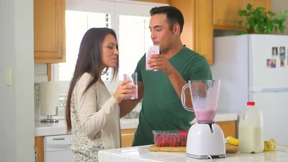 Thumbnail for Mexican couple drinking smoothies