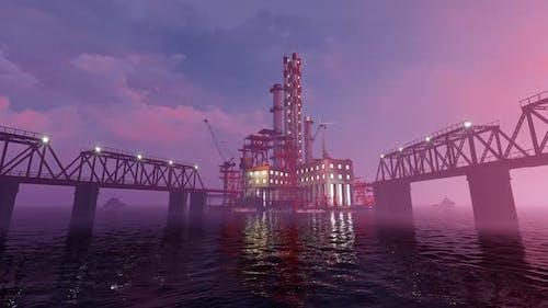 Offshore-Plattform mit einer Anlage