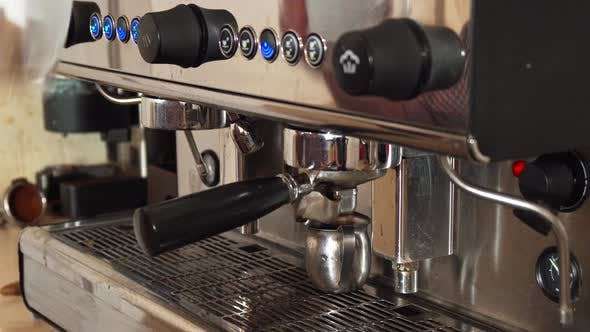 Thumbnail for The Barista Is Making Coffee in the Coffee Machine