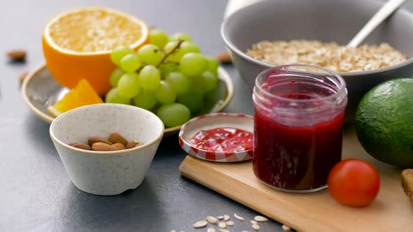 Thumbnail for Different Food for Healthy Breakfast on Table