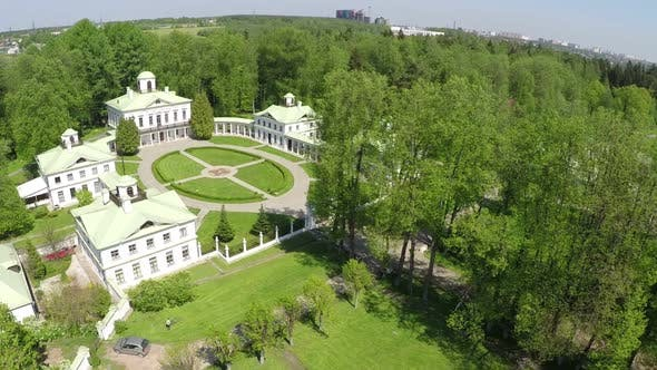 Aerial green landscape of Tsaritsyno museum and reserve in Moscow